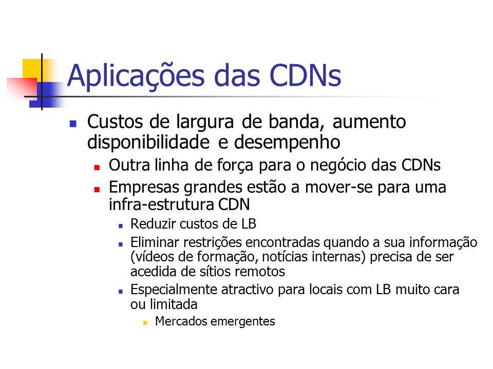 Aplicações das CDNs Custos de largura de banda, aumento disponibilidade e desempenho. Outra linha de força para o negócio das CDNs.