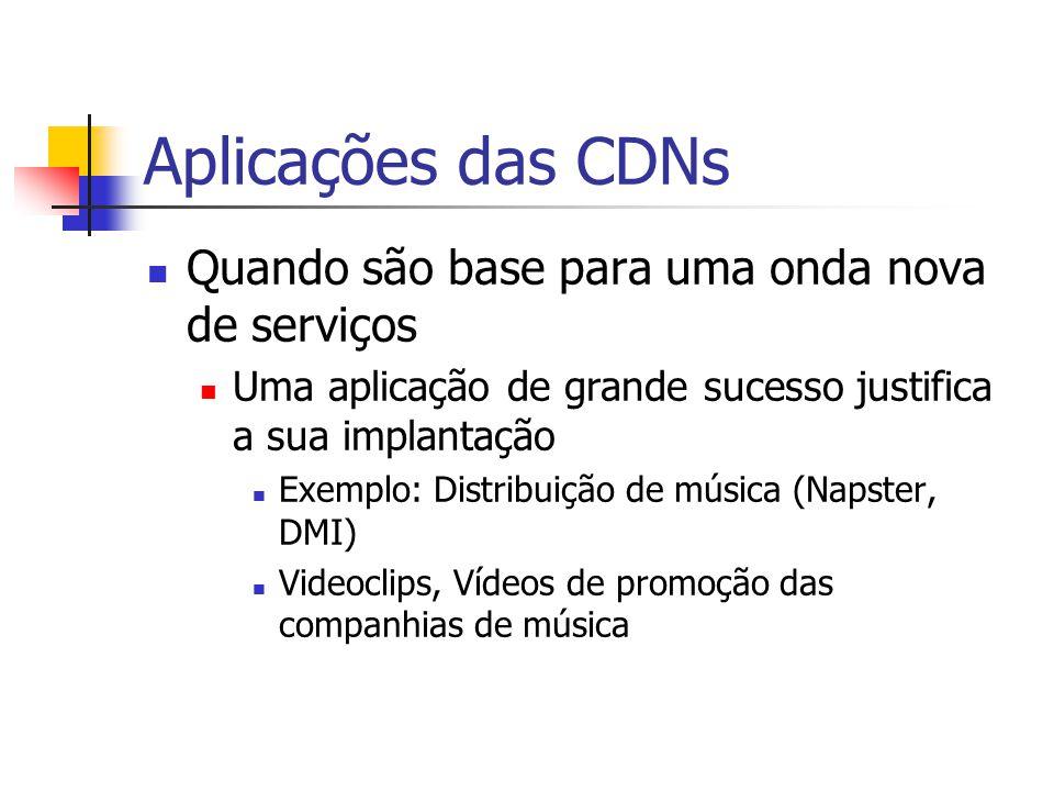 Aplicações das CDNs Quando são base para uma onda nova de serviços