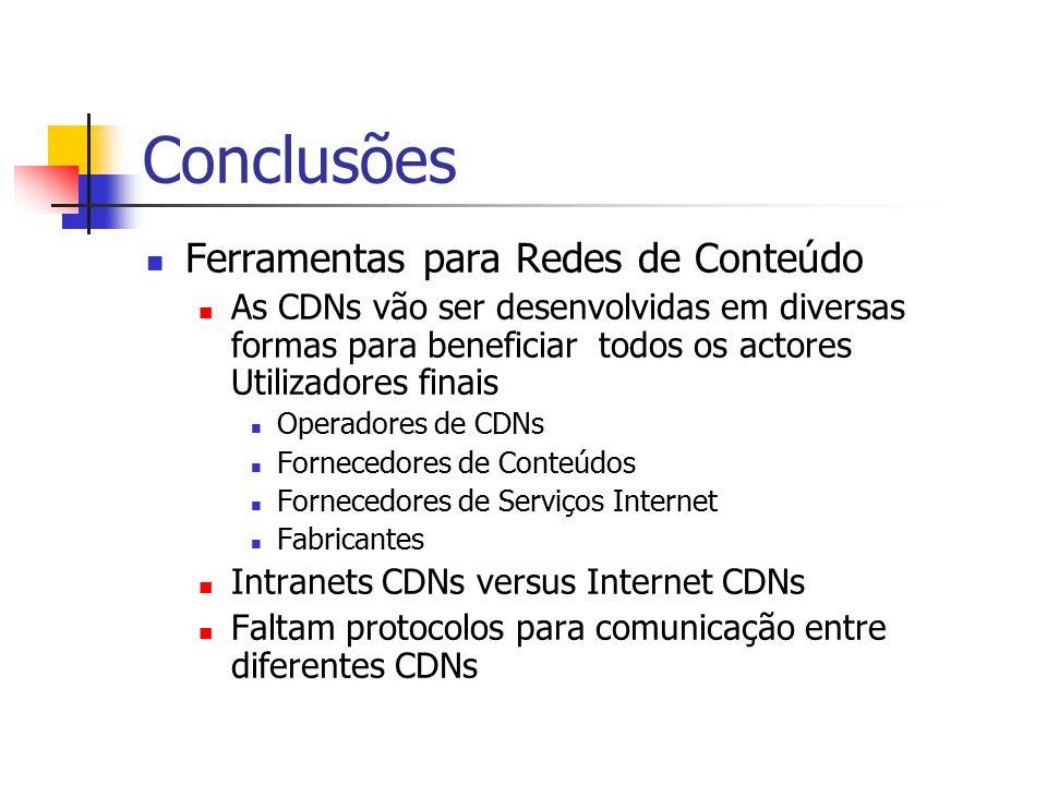 Conclusões Ferramentas para Redes de Conteúdo