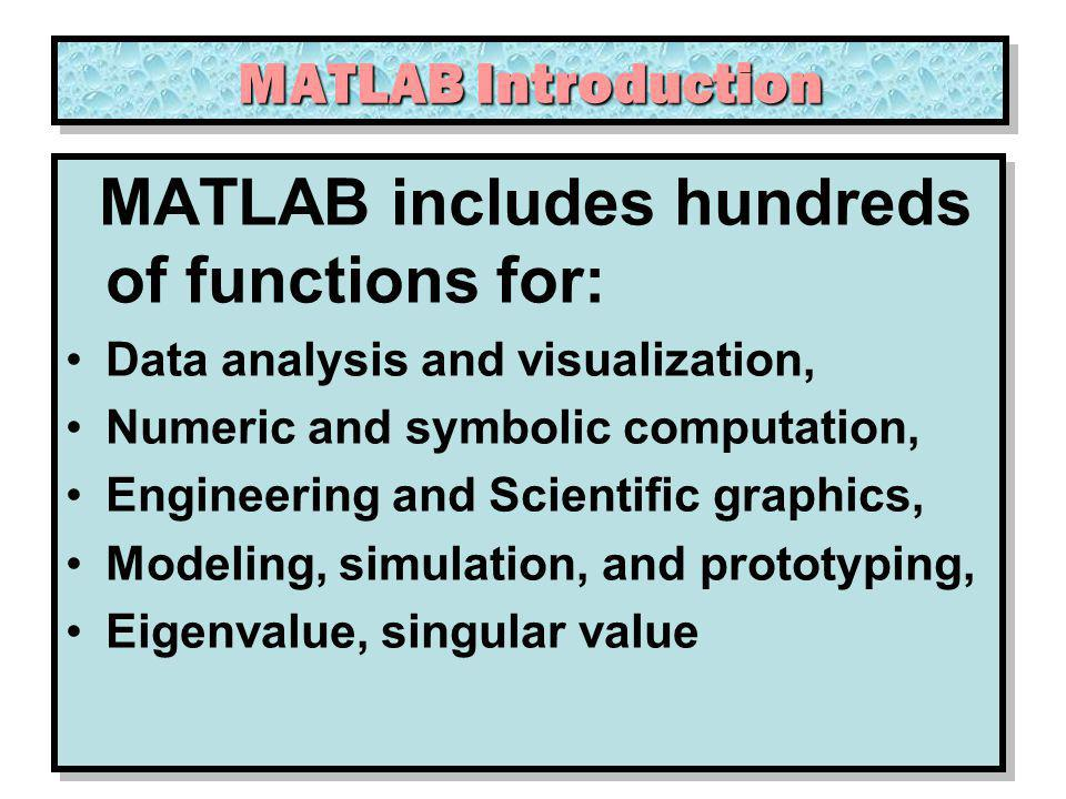 MATLAB includes hundreds of functions for:
