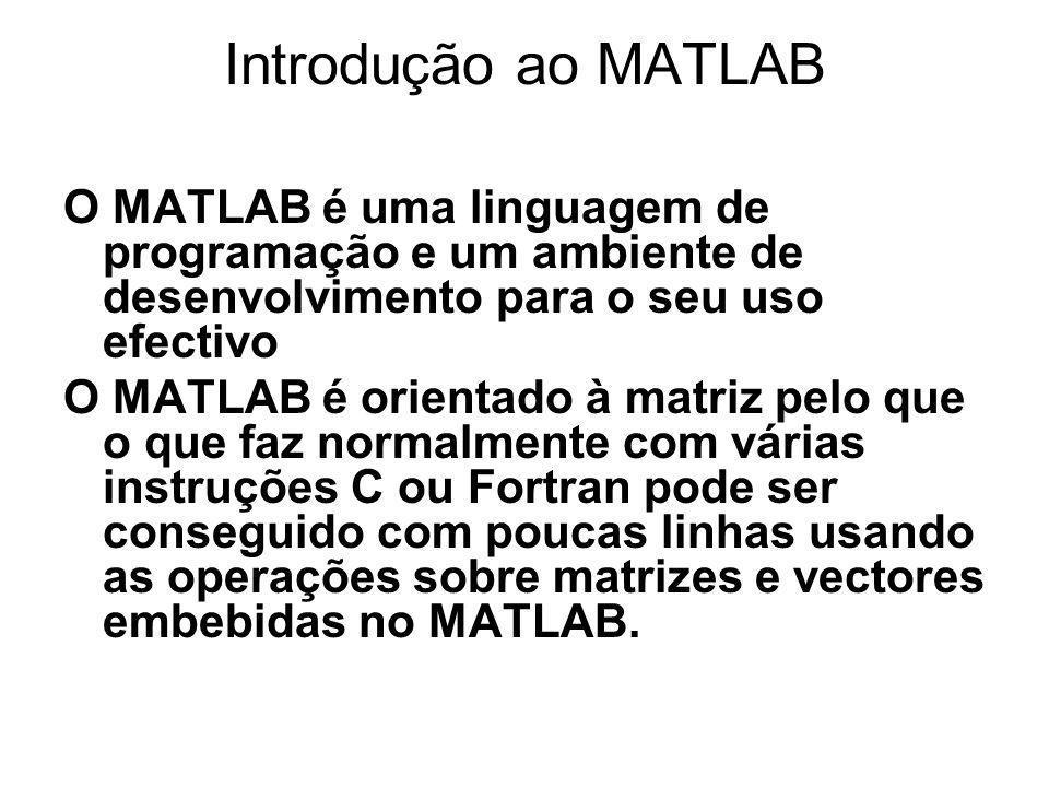 Introdução ao MATLAB O MATLAB é uma linguagem de programação e um ambiente de desenvolvimento para o seu uso efectivo.