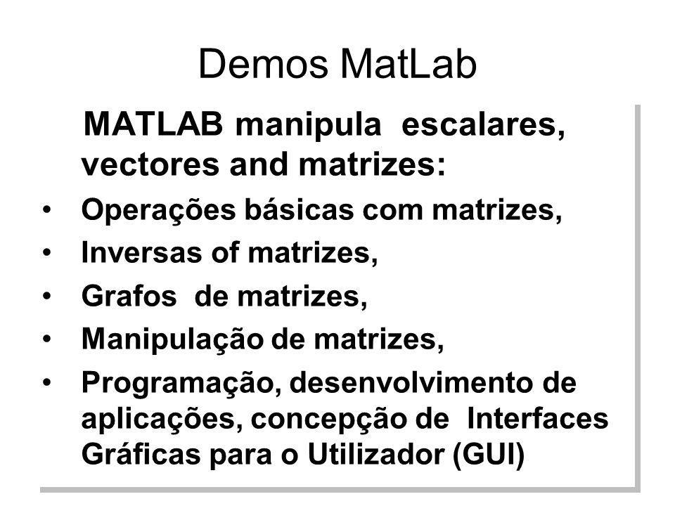 Demos MatLab MATLAB manipula escalares, vectores and matrizes:
