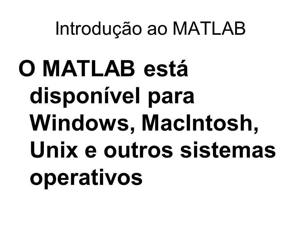 Introdução ao MATLAB O MATLAB está disponível para Windows, MacIntosh, Unix e outros sistemas operativos.