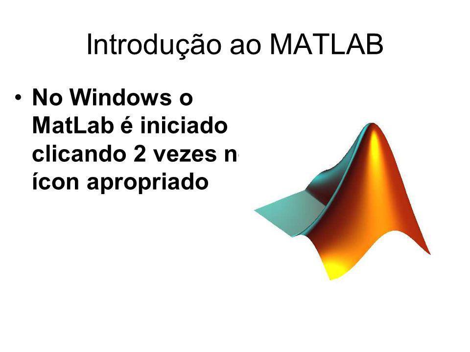 Introdução ao MATLAB No Windows o MatLab é iniciado clicando 2 vezes no ícon apropriado