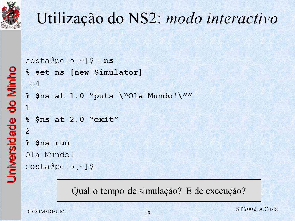 Utilização do NS2: modo interactivo
