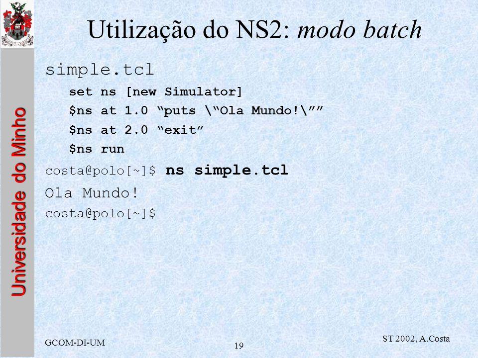 Utilização do NS2: modo batch