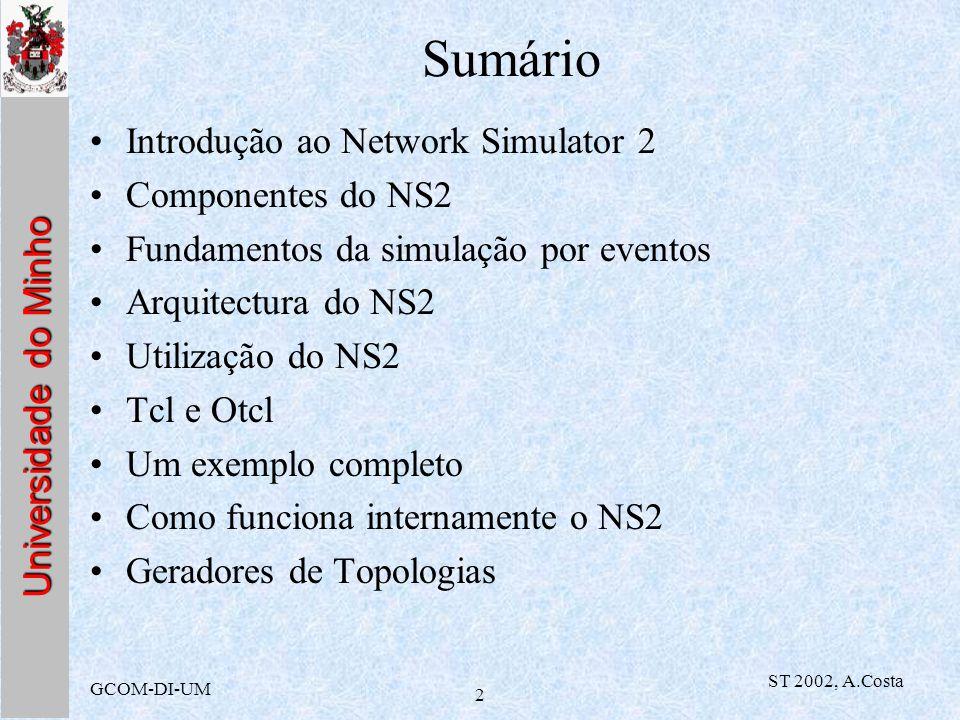 Sumário Introdução ao Network Simulator 2 Componentes do NS2