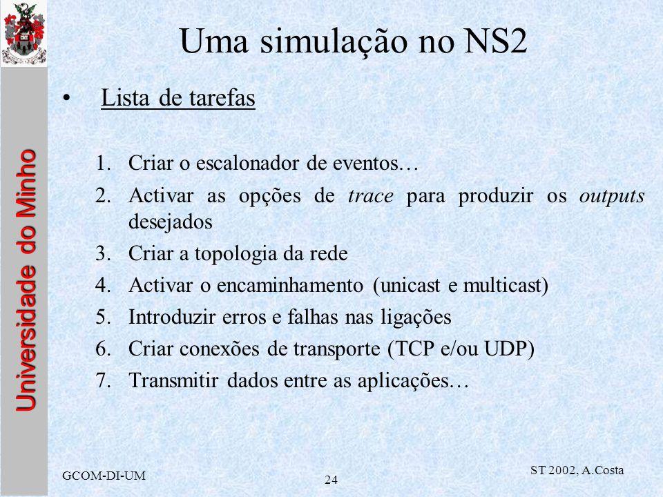 Uma simulação no NS2 Lista de tarefas Criar o escalonador de eventos…