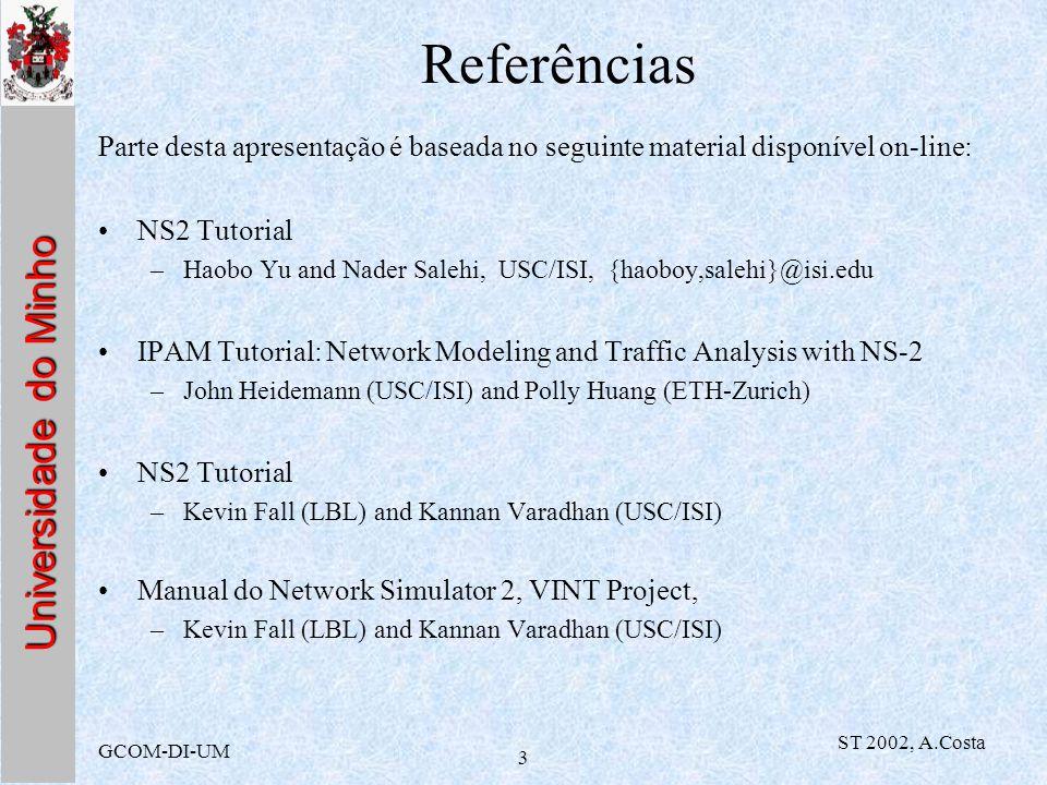 Referências Parte desta apresentação é baseada no seguinte material disponível on-line: NS2 Tutorial.