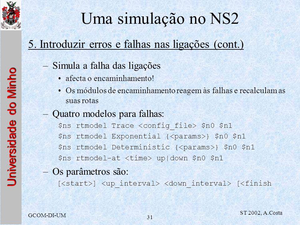 Uma simulação no NS2 5. Introduzir erros e falhas nas ligações (cont.)