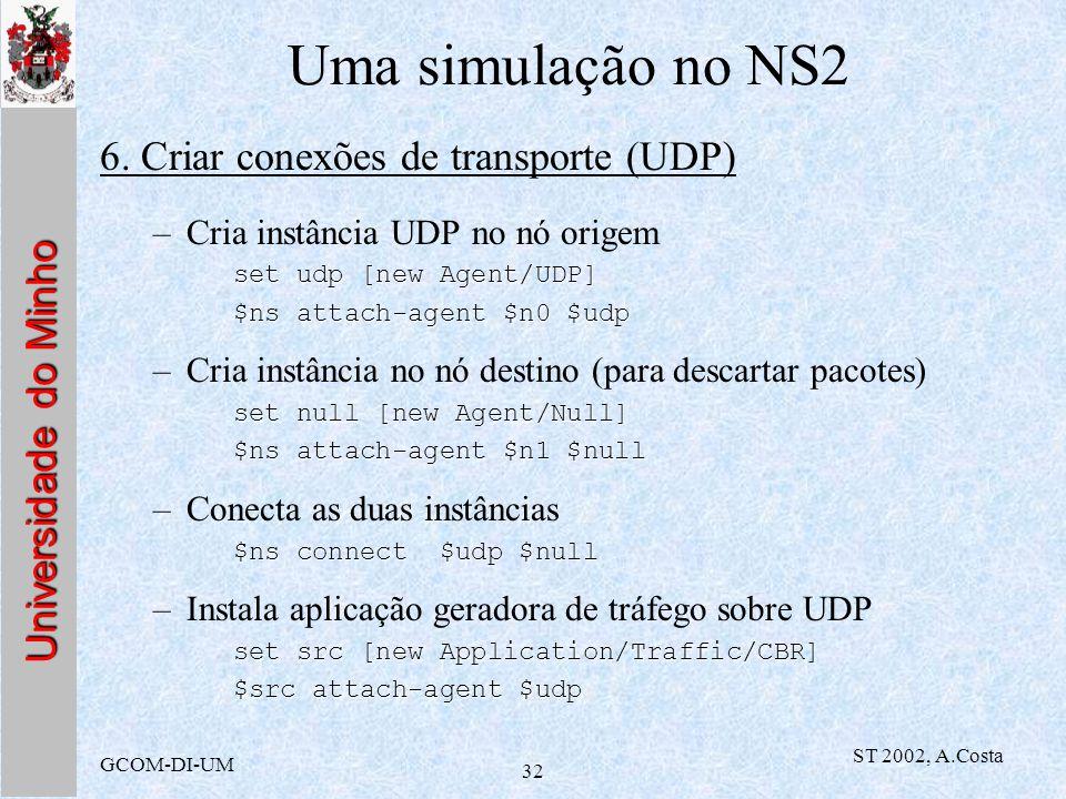 Uma simulação no NS2 6. Criar conexões de transporte (UDP)