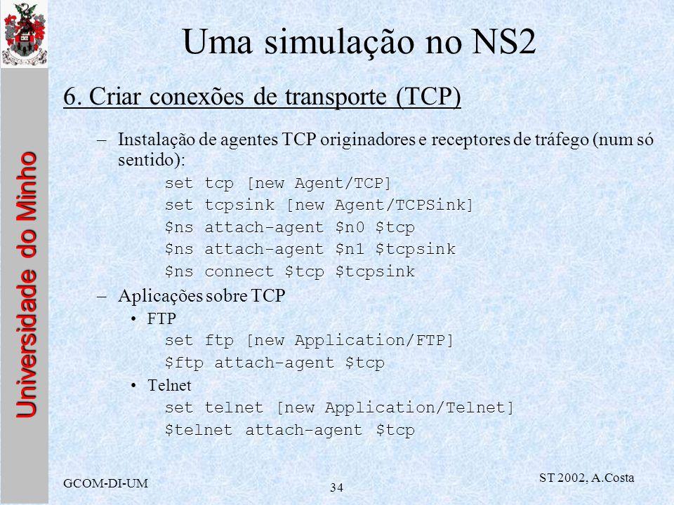 Uma simulação no NS2 6. Criar conexões de transporte (TCP)