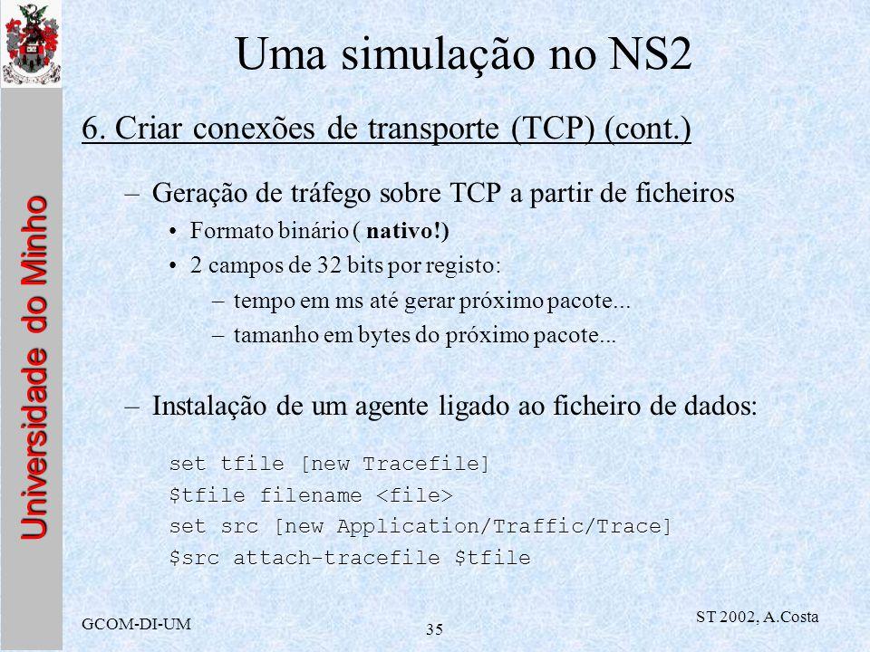 Uma simulação no NS2 6. Criar conexões de transporte (TCP) (cont.)