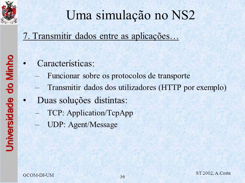 Uma simulação no NS2 7. Transmitir dados entre as aplicações…