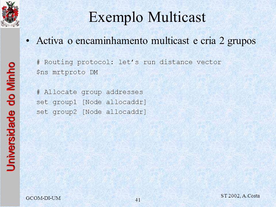 Exemplo Multicast Activa o encaminhamento multicast e cria 2 grupos