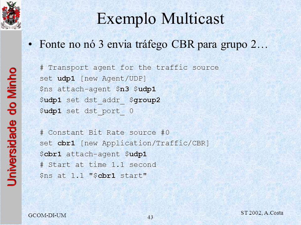 Exemplo Multicast Fonte no nó 3 envia tráfego CBR para grupo 2…
