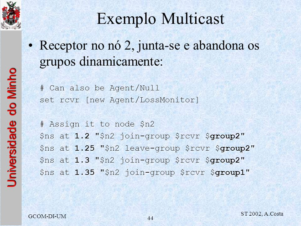 Exemplo Multicast Receptor no nó 2, junta-se e abandona os grupos dinamicamente: # Can also be Agent/Null.