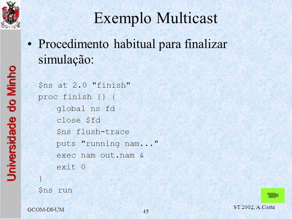 Exemplo Multicast Procedimento habitual para finalizar simulação: