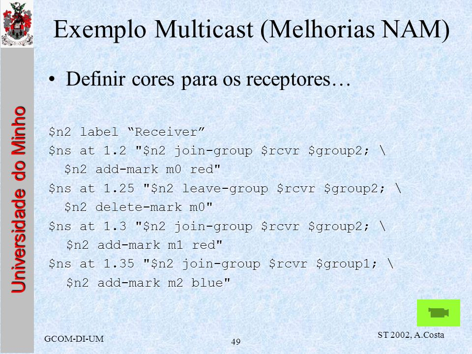 Exemplo Multicast (Melhorias NAM)
