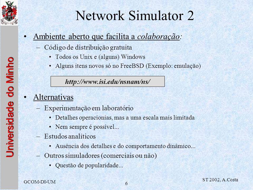 Network Simulator 2 Ambiente aberto que facilita a colaboração: