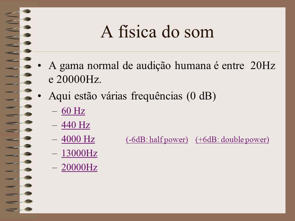 A física do som A gama normal de audição humana é entre 20Hz e 20000Hz. Aqui estão várias frequências (0 dB)