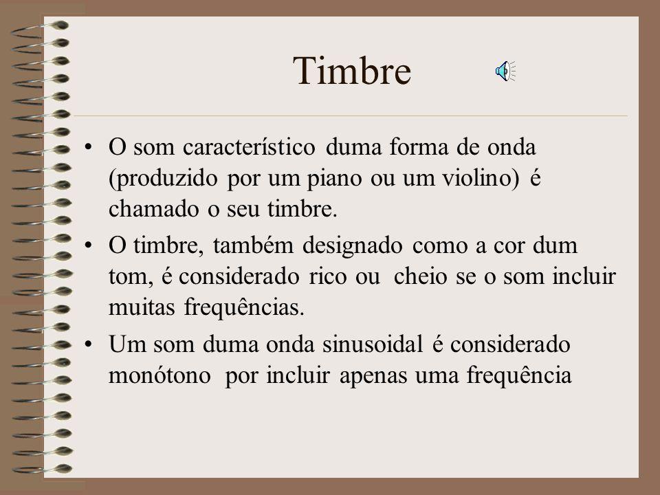 Timbre O som característico duma forma de onda (produzido por um piano ou um violino) é chamado o seu timbre.
