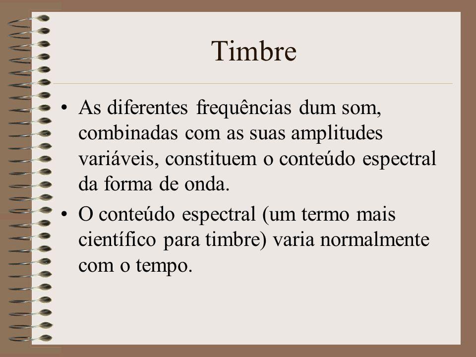 Timbre As diferentes frequências dum som, combinadas com as suas amplitudes variáveis, constituem o conteúdo espectral da forma de onda.