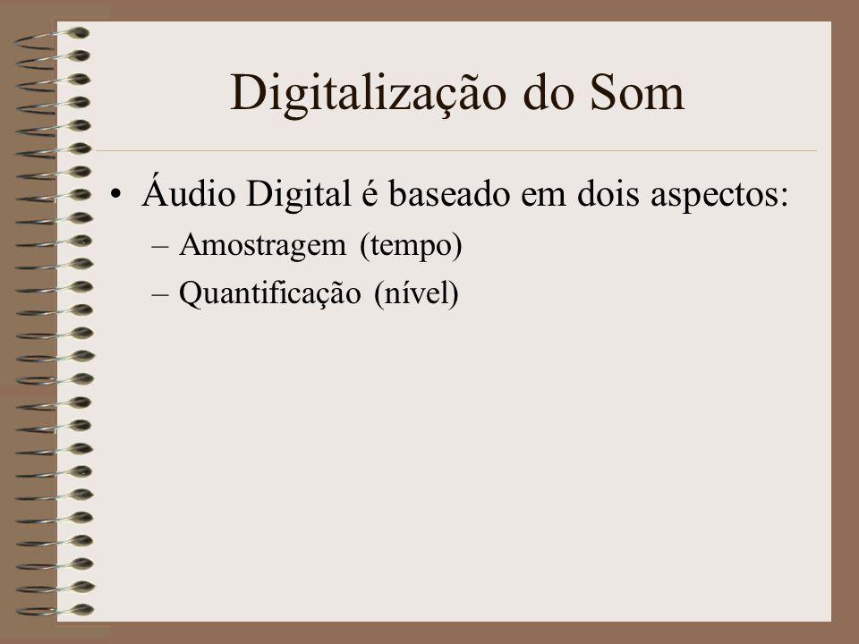 Digitalização do Som Áudio Digital é baseado em dois aspectos: