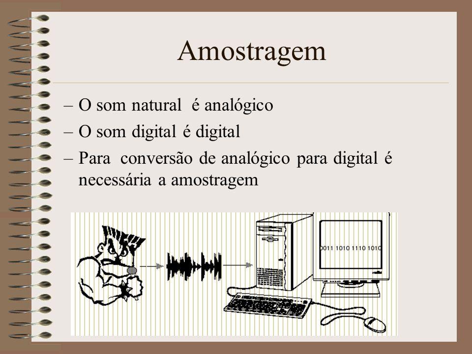 Amostragem O som natural é analógico O som digital é digital