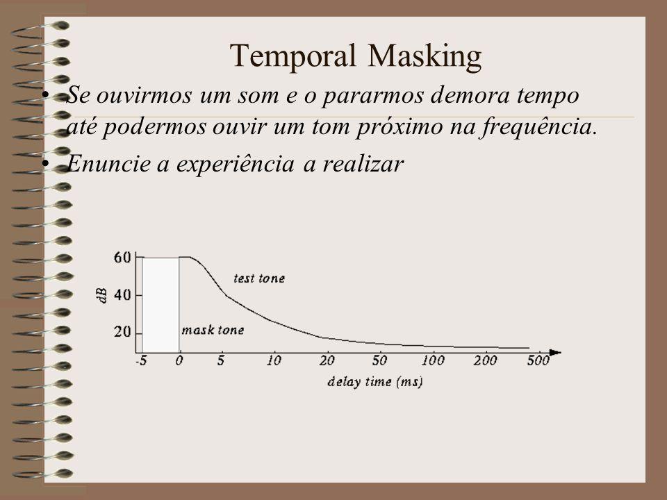 Temporal Masking Se ouvirmos um som e o pararmos demora tempo até podermos ouvir um tom próximo na frequência.