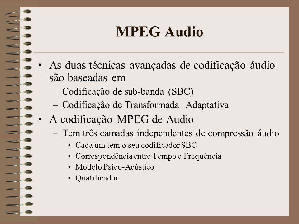 MPEG Audio As duas técnicas avançadas de codificação áudio são baseadas em. Codificação de sub-banda (SBC)
