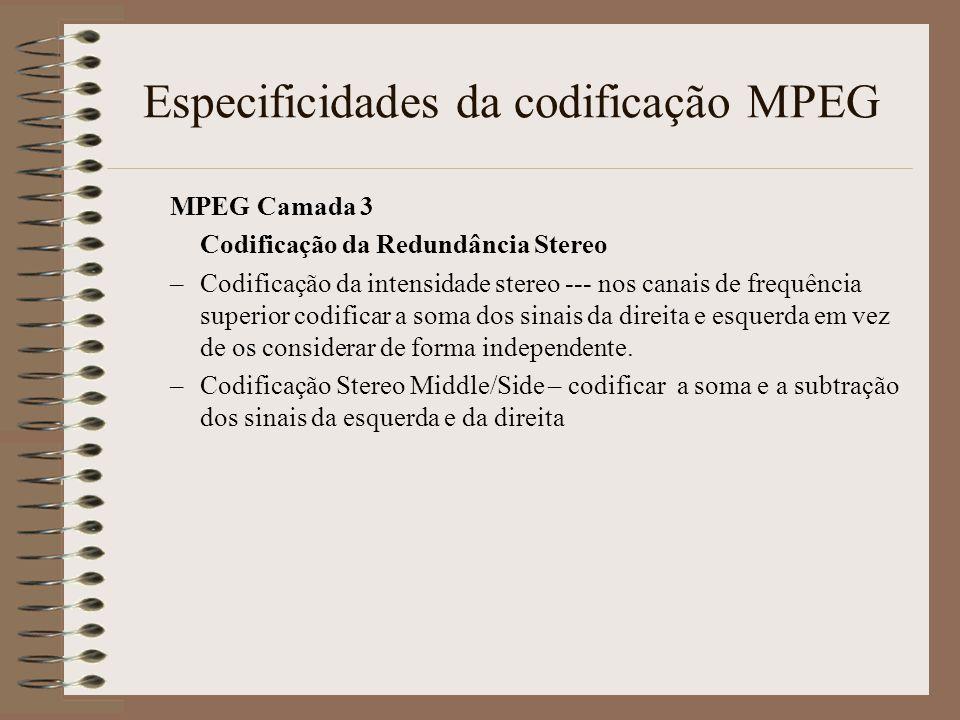 Especificidades da codificação MPEG