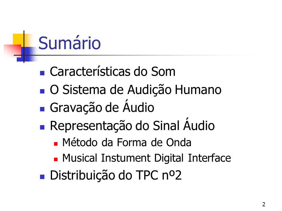 Sumário Características do Som O Sistema de Audição Humano