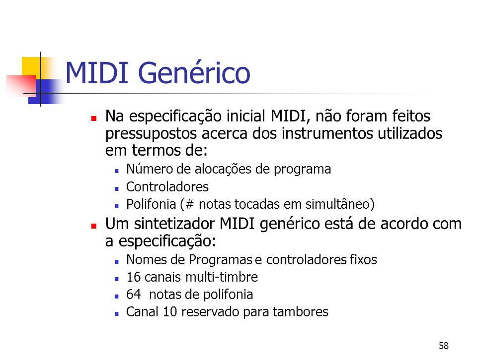 MIDI Genérico Na especificação inicial MIDI, não foram feitos pressupostos acerca dos instrumentos utilizados em termos de:
