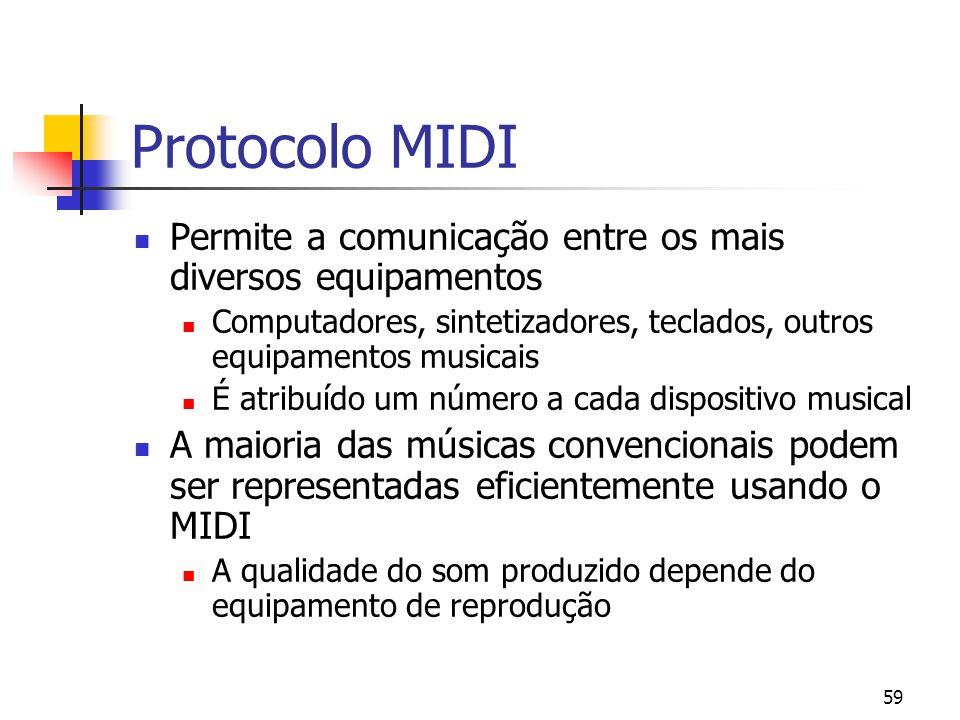 Protocolo MIDI Permite a comunicação entre os mais diversos equipamentos. Computadores, sintetizadores, teclados, outros equipamentos musicais.