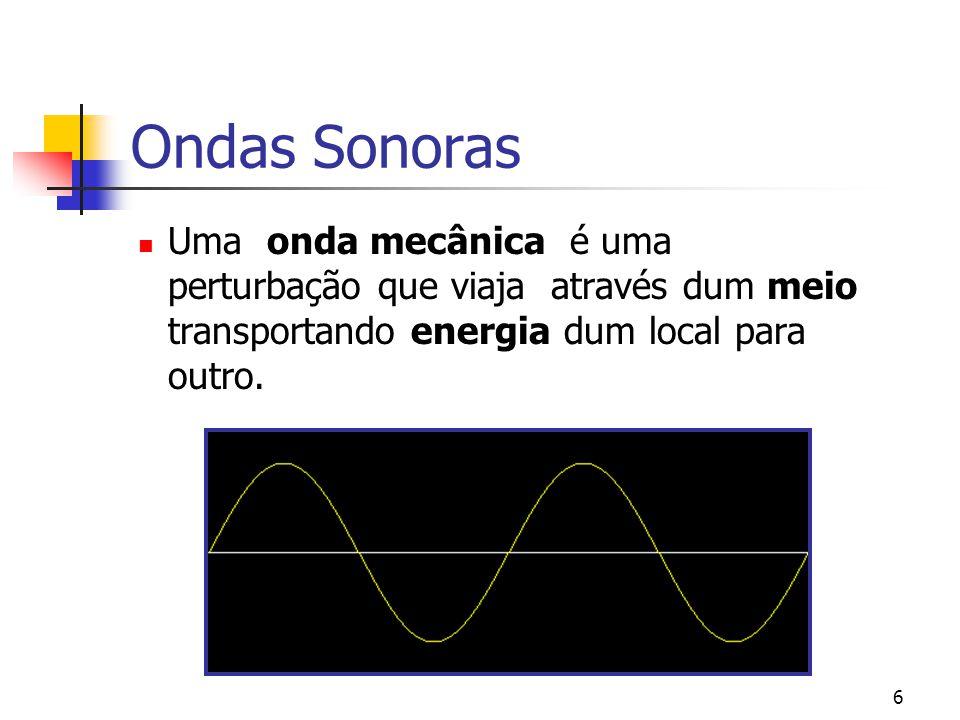 Ondas Sonoras Uma onda mecânica é uma perturbação que viaja através dum meio transportando energia dum local para outro.