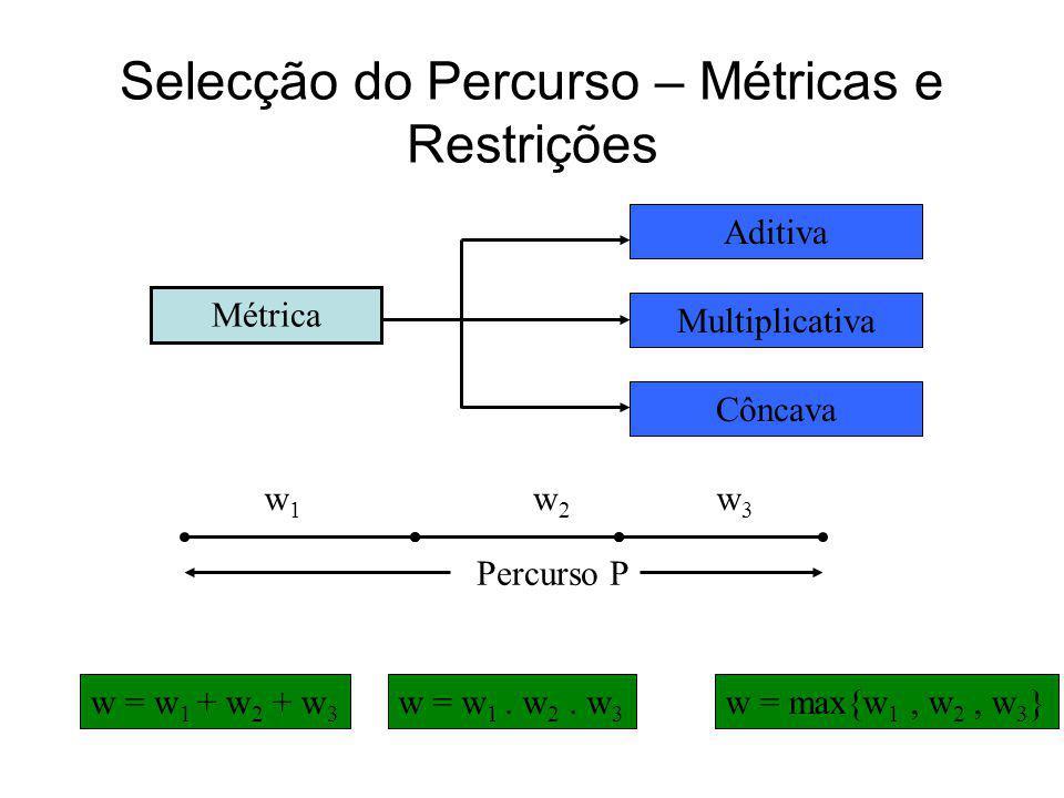 Selecção do Percurso – Métricas e Restrições