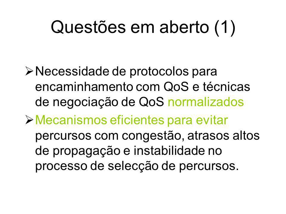 Questões em aberto (1) Necessidade de protocolos para encaminhamento com QoS e técnicas de negociação de QoS normalizados.