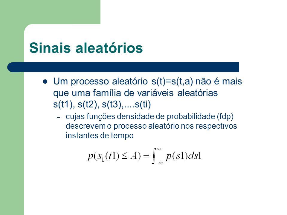 Sinais aleatórios Um processo aleatório s(t)=s(t,a) não é mais que uma família de variáveis aleatórias s(t1), s(t2), s(t3),....s(ti)