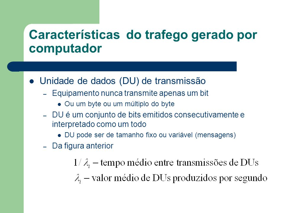 Características do trafego gerado por computador