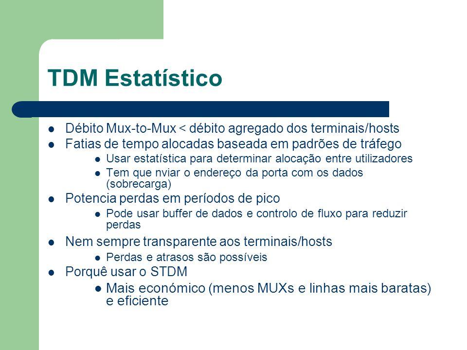 TDM Estatístico Débito Mux-to-Mux < débito agregado dos terminais/hosts. Fatias de tempo alocadas baseada em padrões de tráfego.