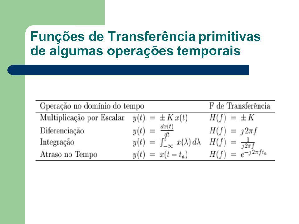Funções de Transferência primitivas de algumas operações temporais