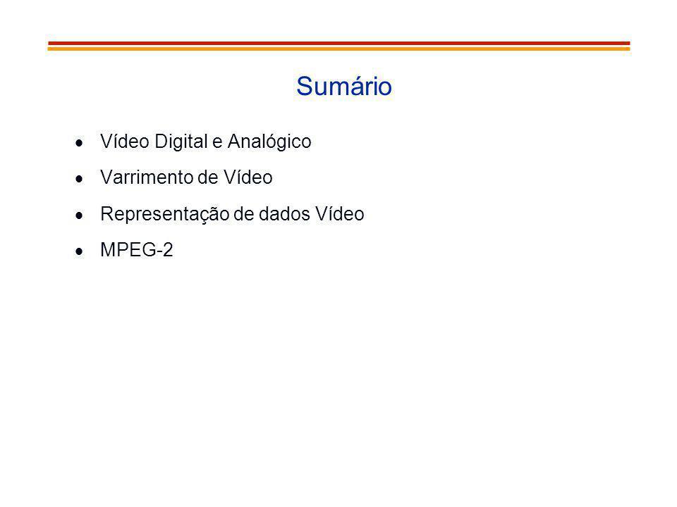 Sumário Vídeo Digital e Analógico Varrimento de Vídeo