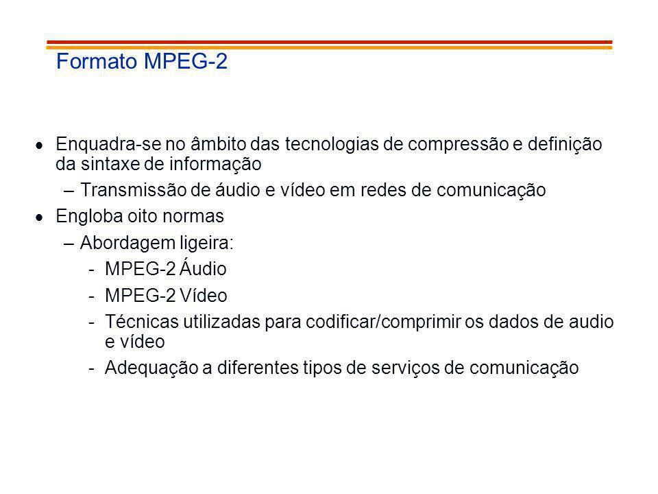 Formato MPEG-2 Enquadra-se no âmbito das tecnologias de compressão e definição da sintaxe de informação.