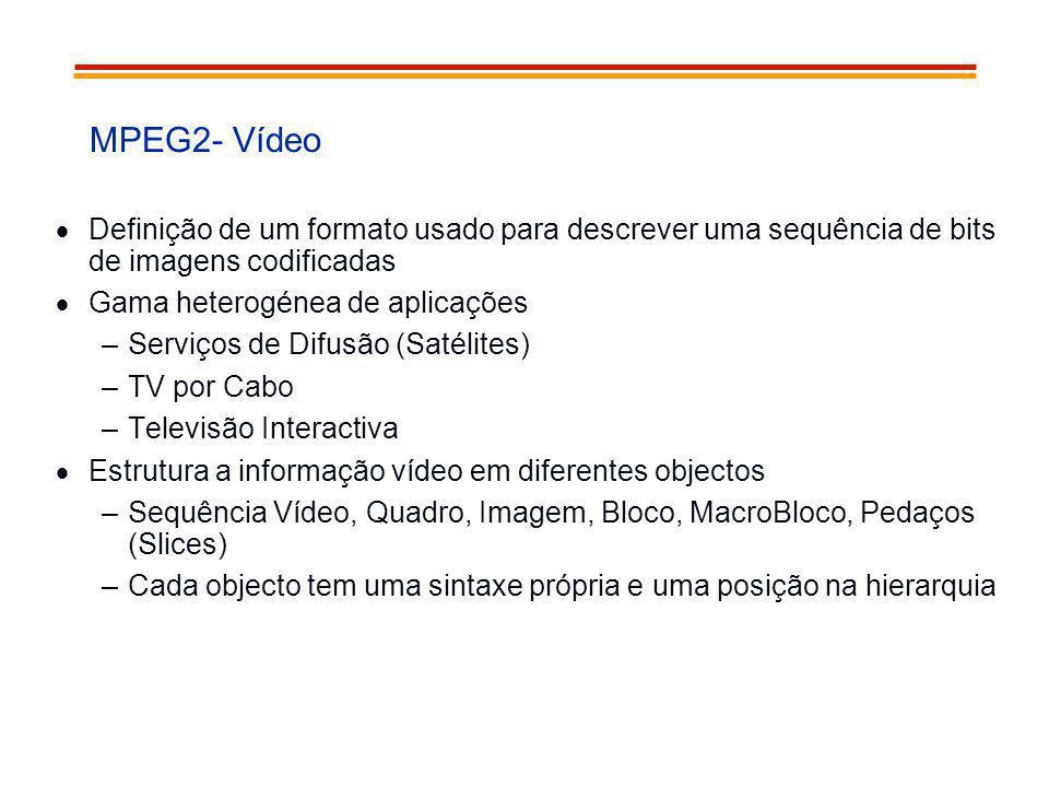 MPEG2- Vídeo Definição de um formato usado para descrever uma sequência de bits de imagens codificadas.