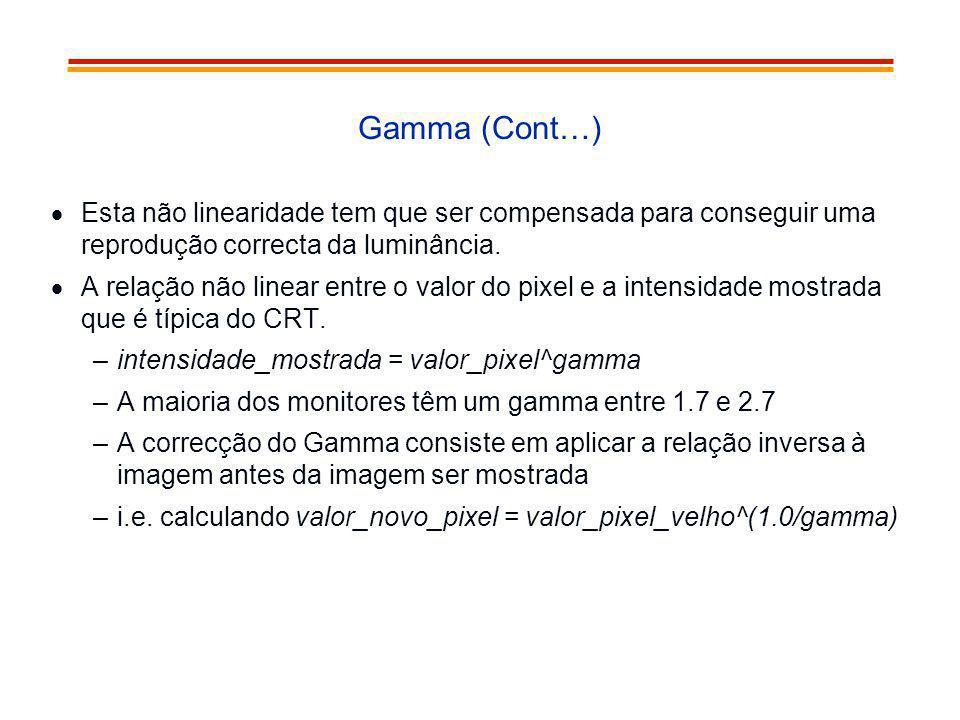 Gamma (Cont…) Esta não linearidade tem que ser compensada para conseguir uma reprodução correcta da luminância.