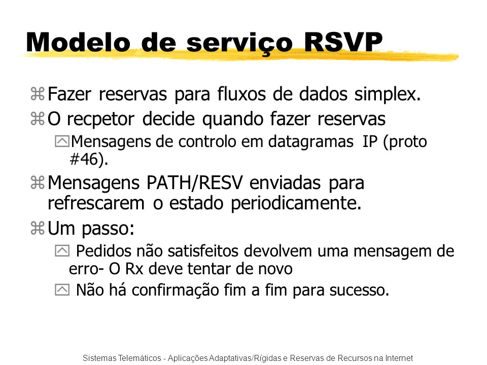 Modelo de serviço RSVP Fazer reservas para fluxos de dados simplex.