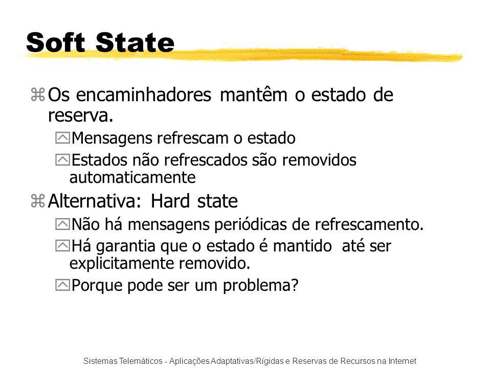 Soft State Os encaminhadores mantêm o estado de reserva.