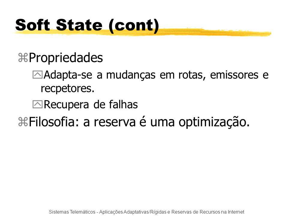 Soft State (cont) Propriedades Filosofia: a reserva é uma optimização.