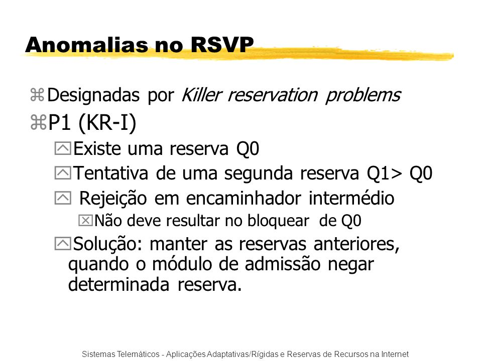 Anomalias no RSVP P1 (KR-I) Designadas por Killer reservation problems
